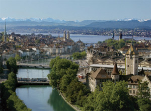 Lake Zuerich and the Alpine panorama