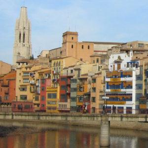 Postcard Old Town in Girona, Spain