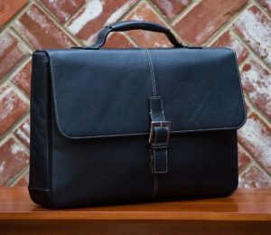 Boconi Tyler Tumbled BROKERS Leather Messenger Bag