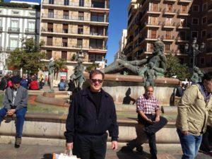 Rob at Turia Fountain in the Plaza de la Virgen in Valencia, Spain