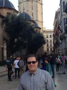 Rob in the Old Town Outside Valnecia Cathedral an Micalet Tower