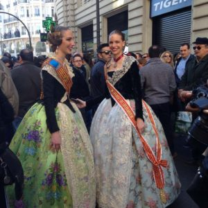 Girls in Traditional Valencian Costumes During Fallas in Valencia, Spain