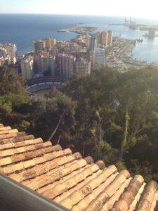 Sea and Plaza de Toros de la Malaga (bull ring) from Parador de Gibralfaro Rooftop