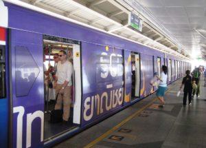Bangkok International Airport skytrain at station