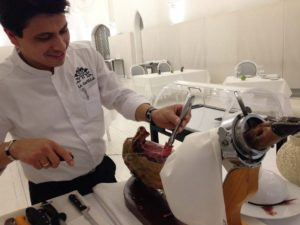 Carving Jamon at Hotel Catedral Pamplona