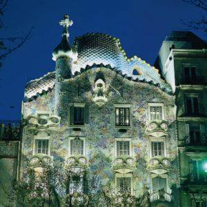 Casa Batlo at Night in Barcelona