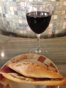 Classic Ham Sandwich and Wine at Caravinagre in Hotel Maissonave in Pamplona