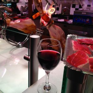 Jamon and Wine at San Miguel Market in Madrid