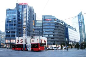 Oslo Public Bus in the Middle of the CIty Center