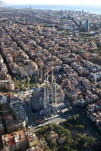 Arial View of Sagrada Familia in Barcelona