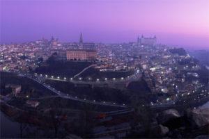 Panoramic Night View of Toledo, Spain