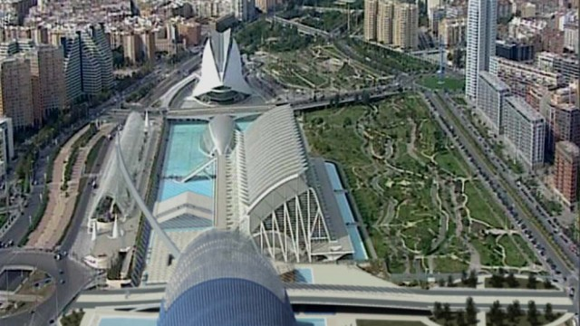 Aerial View of the Agora (top), Science Museum (center) and Opera House in Valencia, Spain